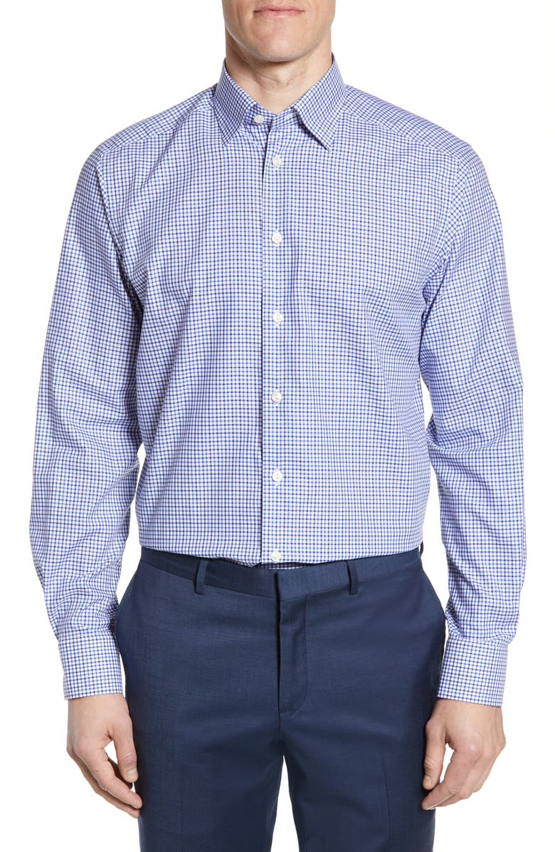 ETON Contemporary Fit Check Dress Shirt, Main, color, BLUE