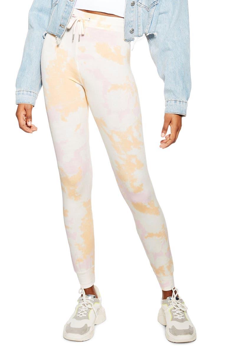 TOPSHOP Slim Fit Tie Dye Jogger Pants, Main, color, WHITE MULTI