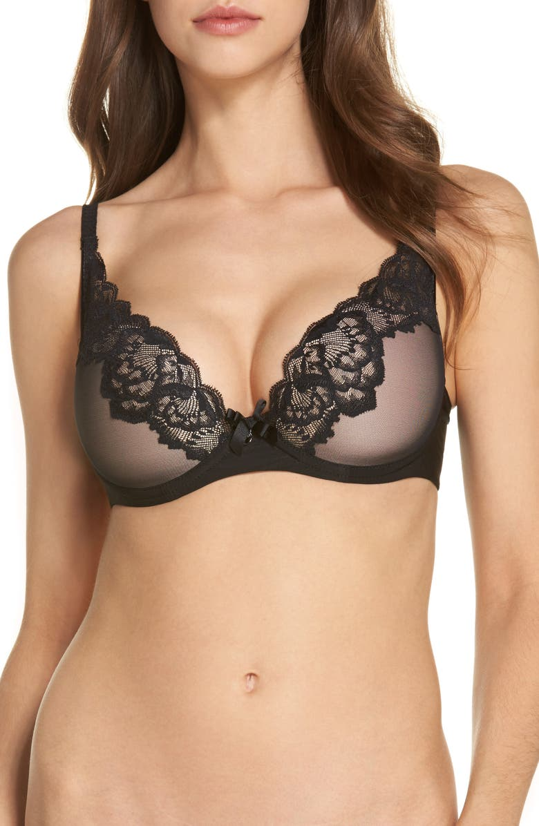 CHANTELLE LINGERIE Orangerie Lace Underwire Plunge Bra, Main, color, BLACK