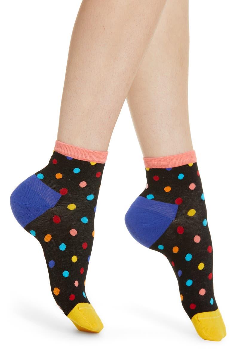 HAPPY SOCKS Dot Ankle Socks, Main, color, 001