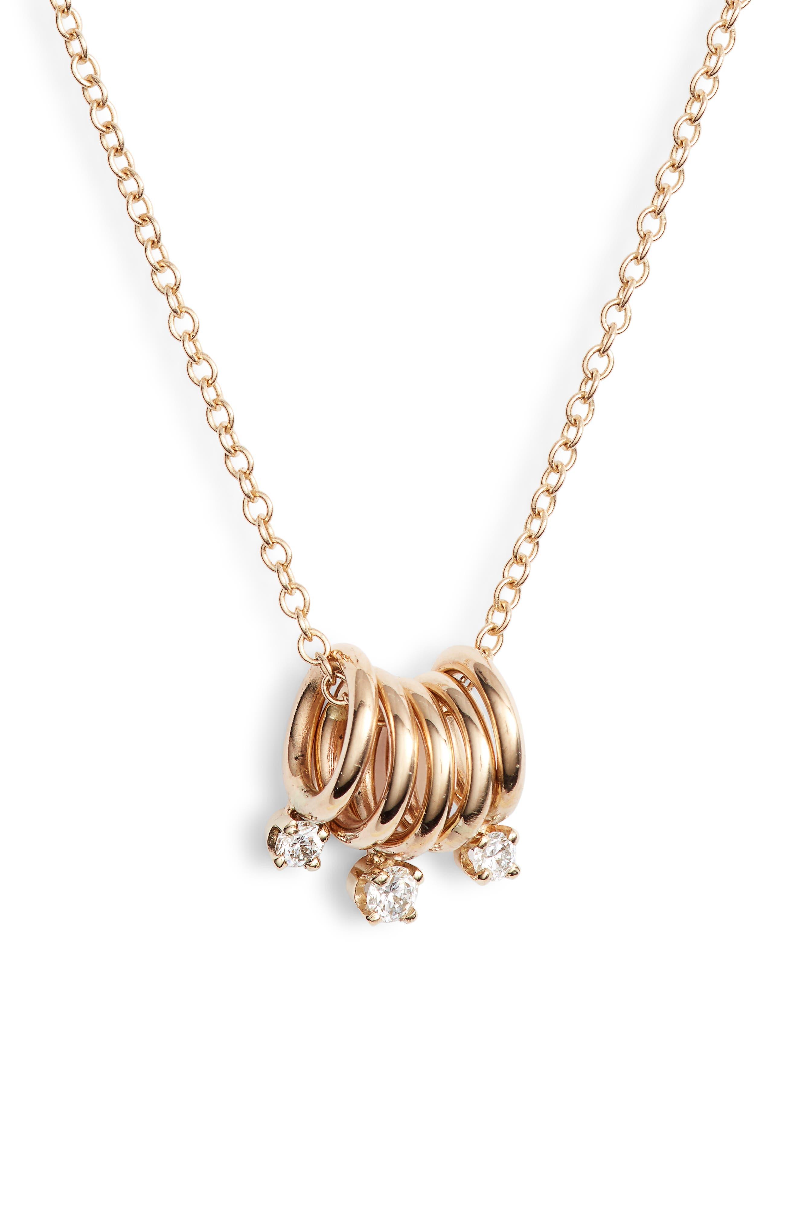 Zoe Chicco Diamond Rings Pendant Necklace