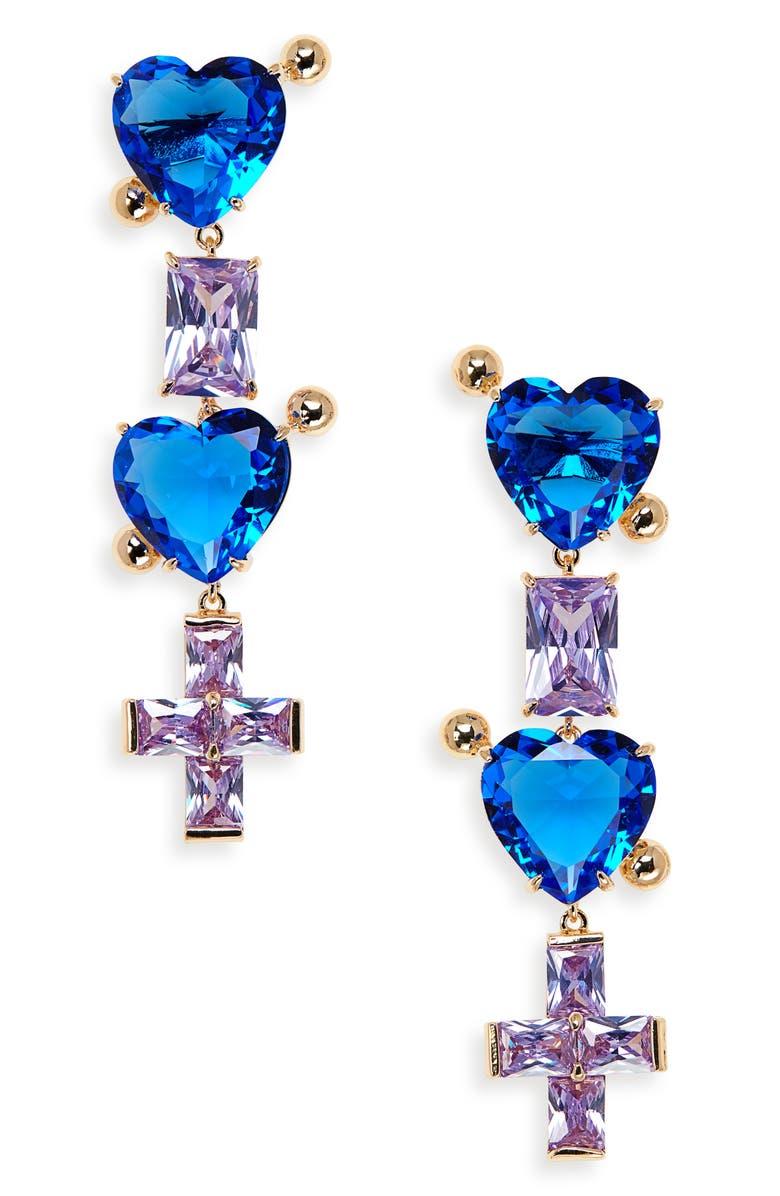 JIWINAIA Cubic Zirconia Heart & Cross Drop Earrings, Main, color, 18 KT GOLD PLATED BRASS