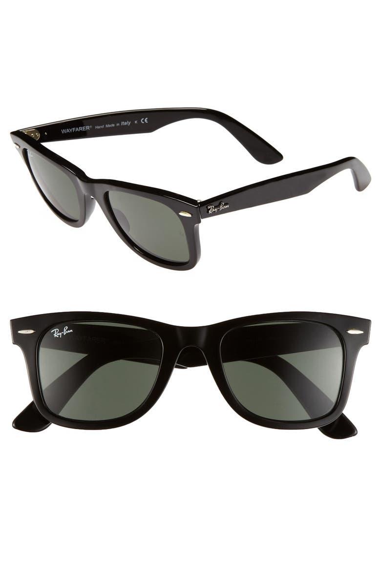 RAY-BAN 'Classic Wayfarer' 50mm Sunglasses, Main, color, BLACK