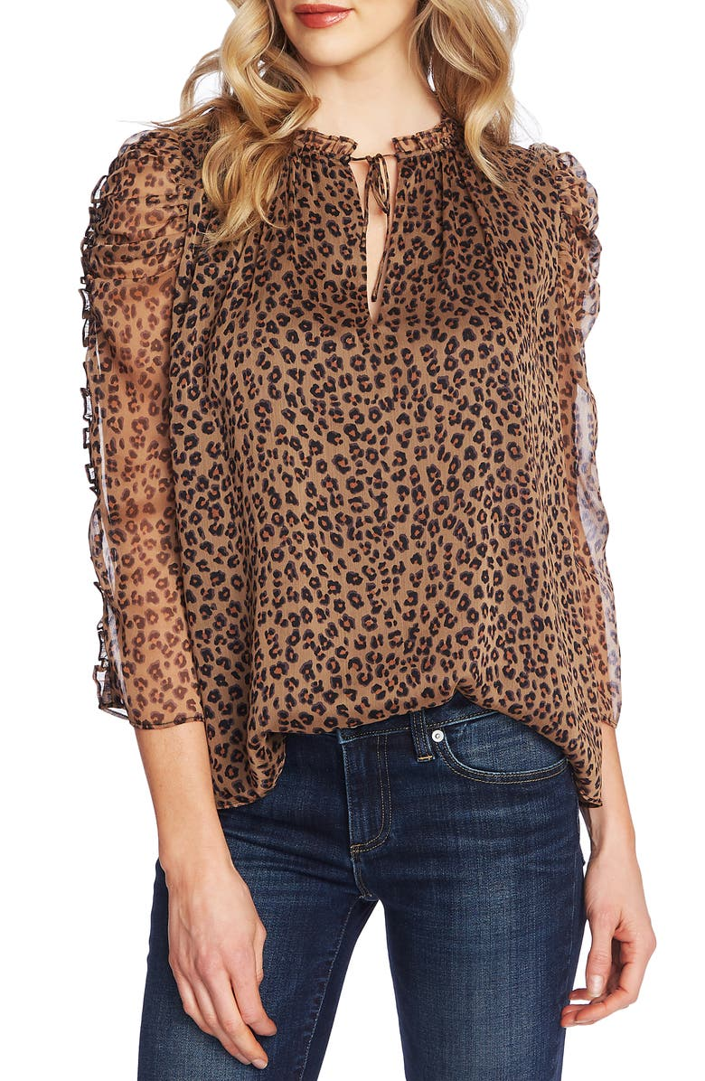 CECE Leopard Tie Neck Blouse, Main, color, 263