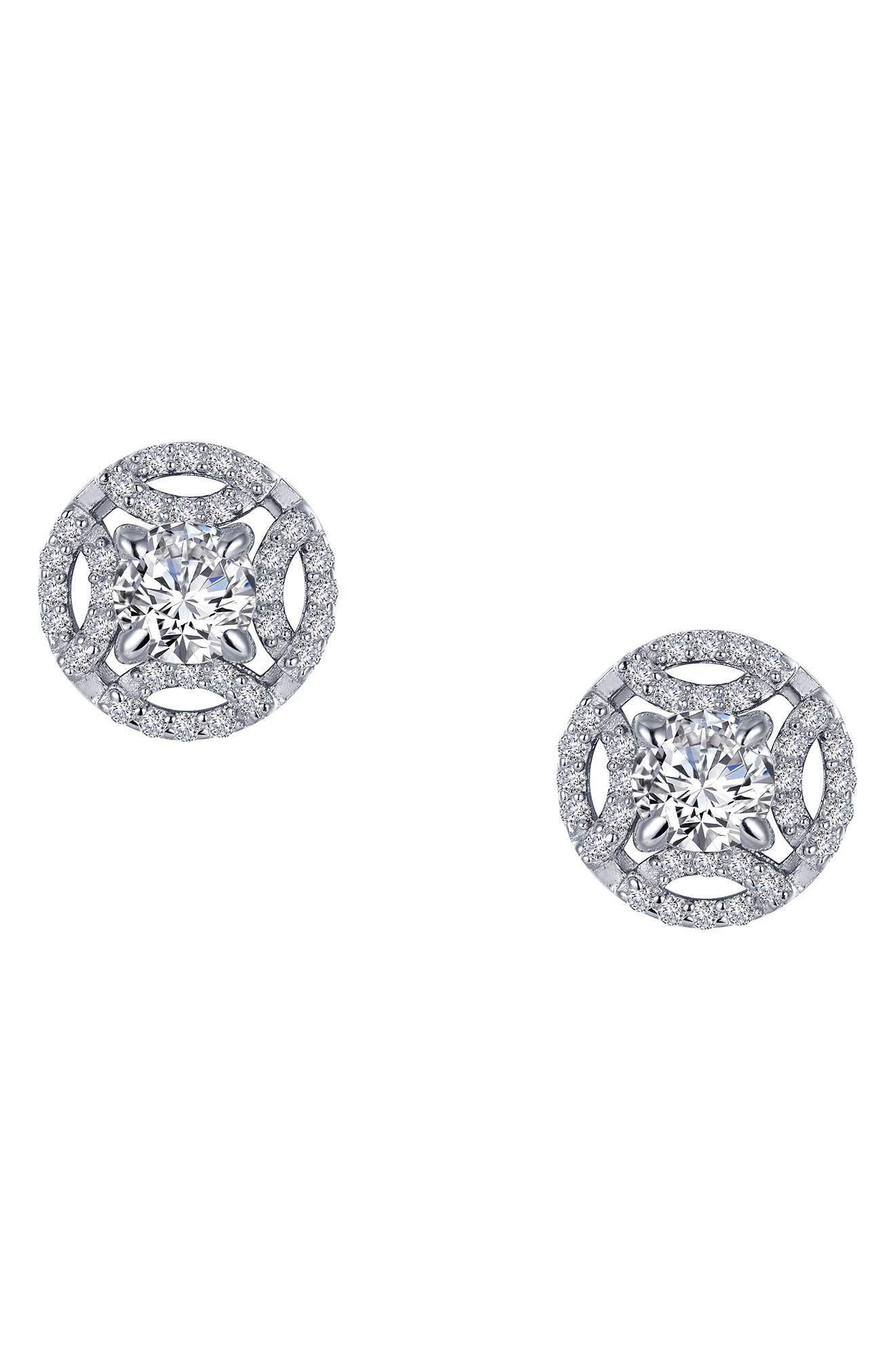 These stud earrings were inspired by vintage jewelry, with a button design centered by a simulated diamond and illuminated with curves of pave sparkle. Style Name: Lafonn Simulated Diamond Button Earrings. Style Number: 5827989. Available in stores.