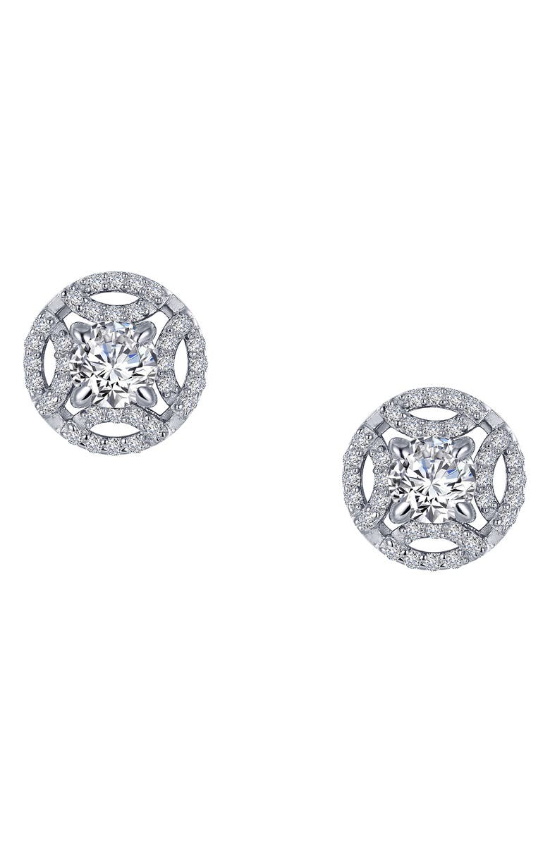 LAFONN Simulated Diamond Button Earrings, Main, color, CLEAR/ SILVER