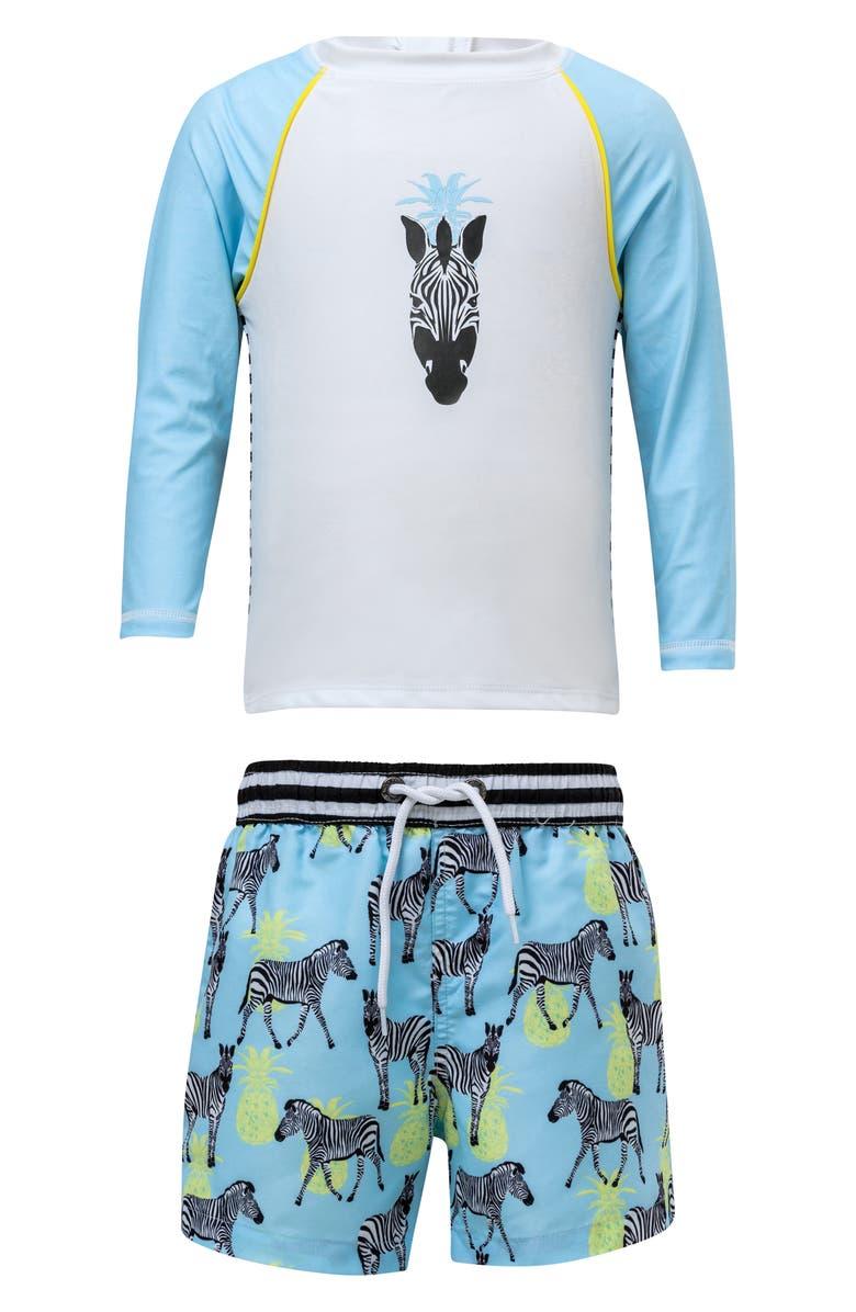 SNAPPER ROCK Zebra Two-Piece Rashguard Swimsuit, Main, color, AQUA