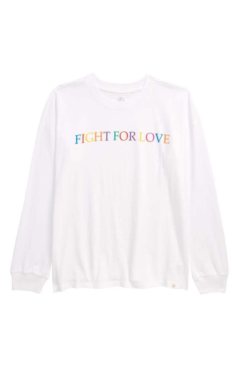 TREASURE & BOND Kids' Graphic Tee, Main, color, WHITE RAINBOW FIGHT FOR LOVE