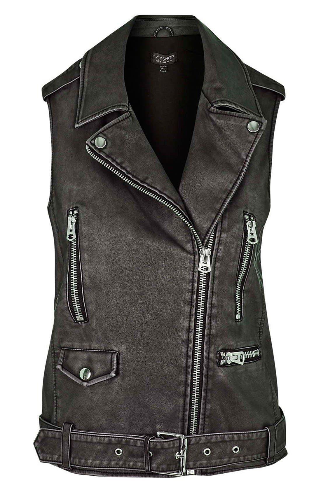 ,                             'Sylvia'Faux Leather Moto Vest,                             Alternate thumbnail 3, color,                             001