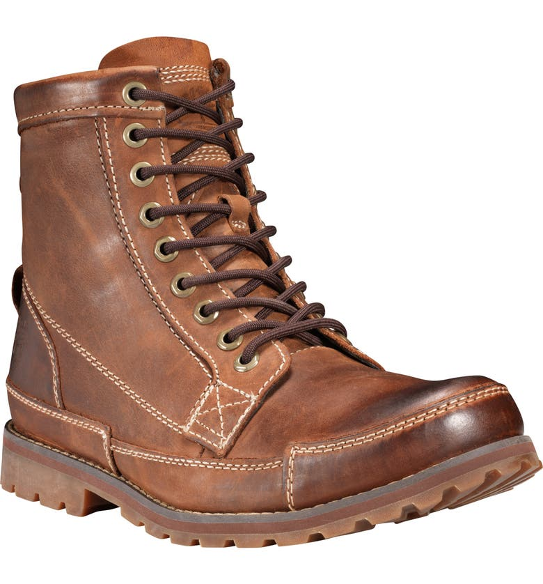 TIMBERLAND Earthkeepers<sup>®</sup> Original Mid Plain Toe Boot, Main, color, MEDIUM BROWN NUBUCK