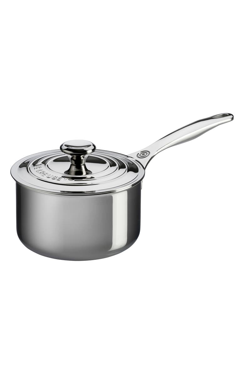 LE CREUSET 3-Quart Stainless Steel Saucepan with Lid, Main, color, STANLESS STEEL