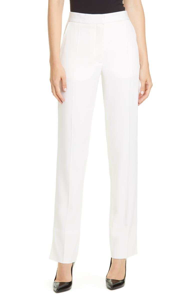BURBERRY Harborough Slim Wool Pants, Main, color, NATURAL WHITE