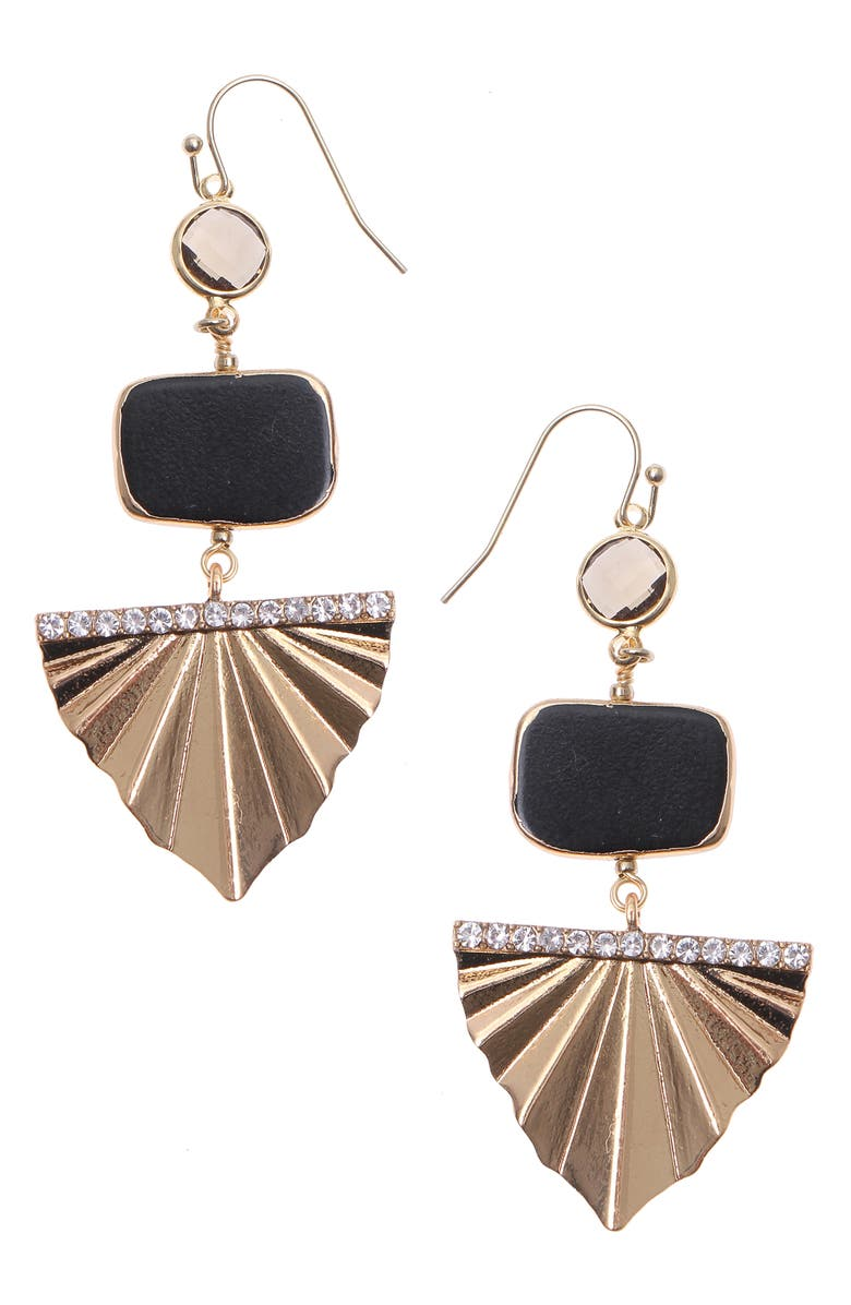 NAKAMOL CHICAGO Tiered Drop Earrings, Main, color, BLACK MIX GOLD