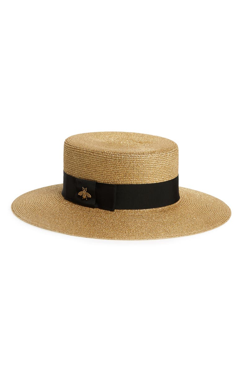 GUCCI Web Shimmer Straw Hat, Main, color, BROWN