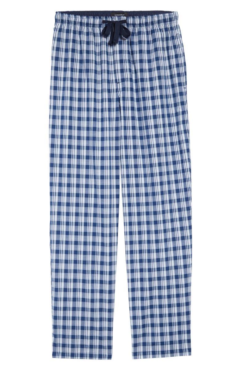 NORDSTROM MEN'S SHOP Poplin Pajama Pants, Main, color, BLUE ESTATE NELSON PLAID