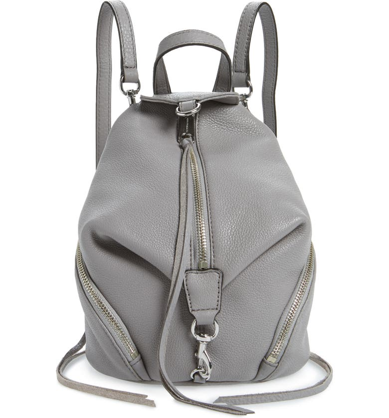 REBECCA MINKOFF Mini Julian Pebbled Leather Convertible Backpack, Main, color, 021