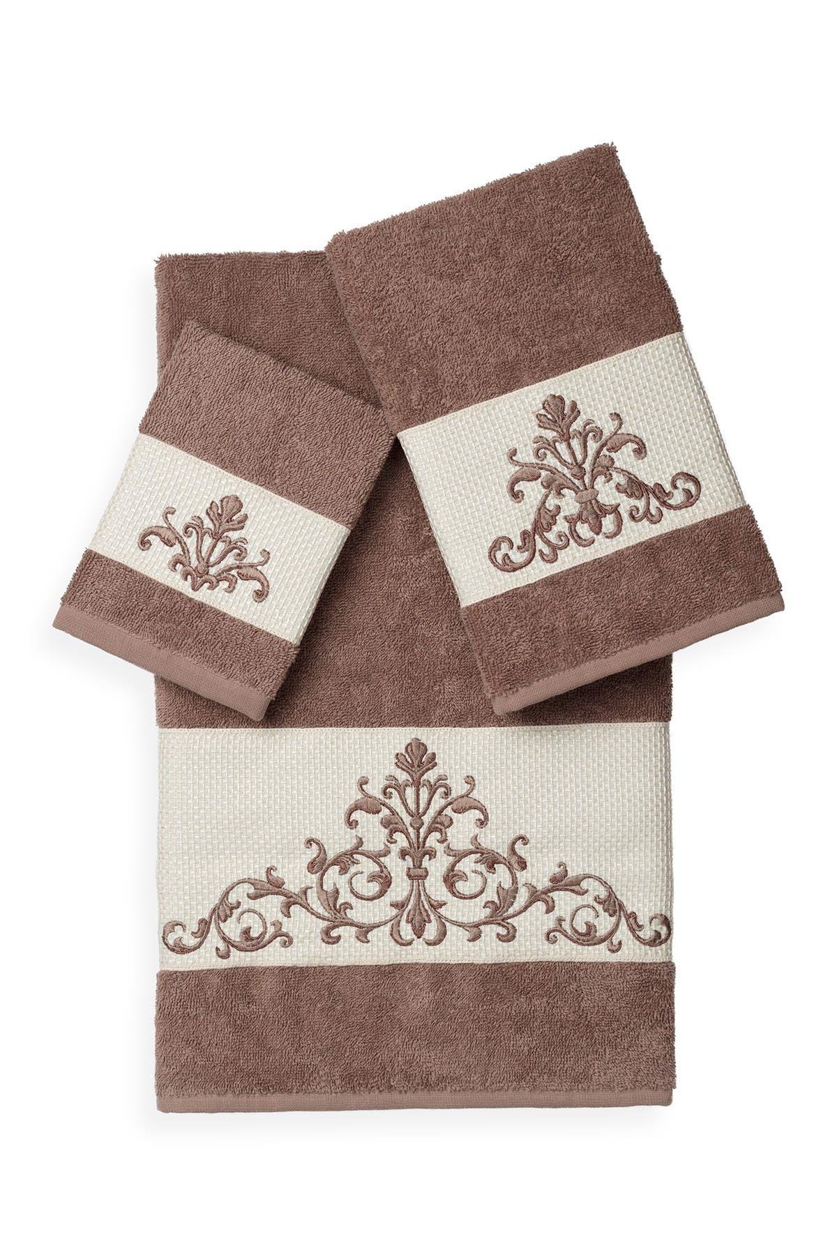 Image of LINUM TOWELS Scarlet 3-Piece Embellished Towel Set - Latte