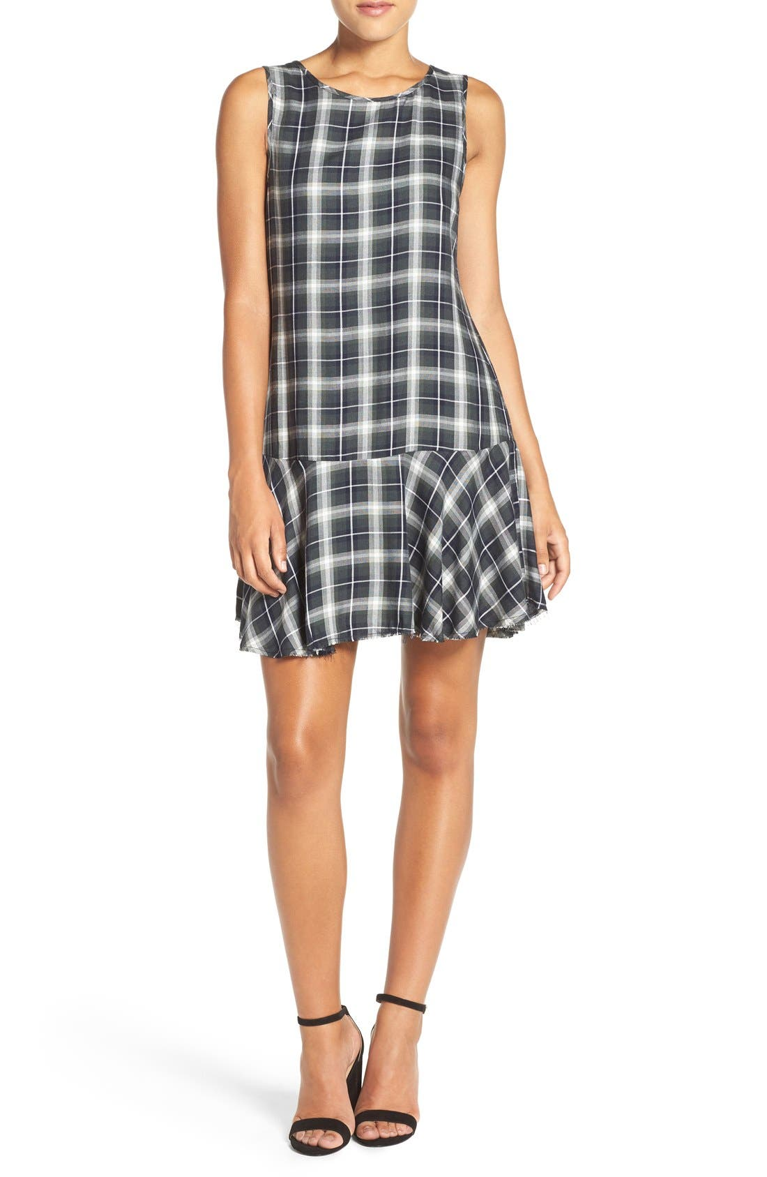 ,                             'Reyes' Plaid Drop Waist Dress,                             Alternate thumbnail 9, color,                             306