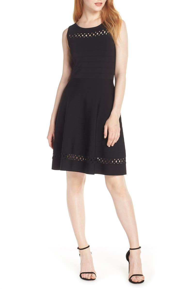 FRENCH CONNECTION Kai Fit & Flare Sweater Dress, Main, color, 001