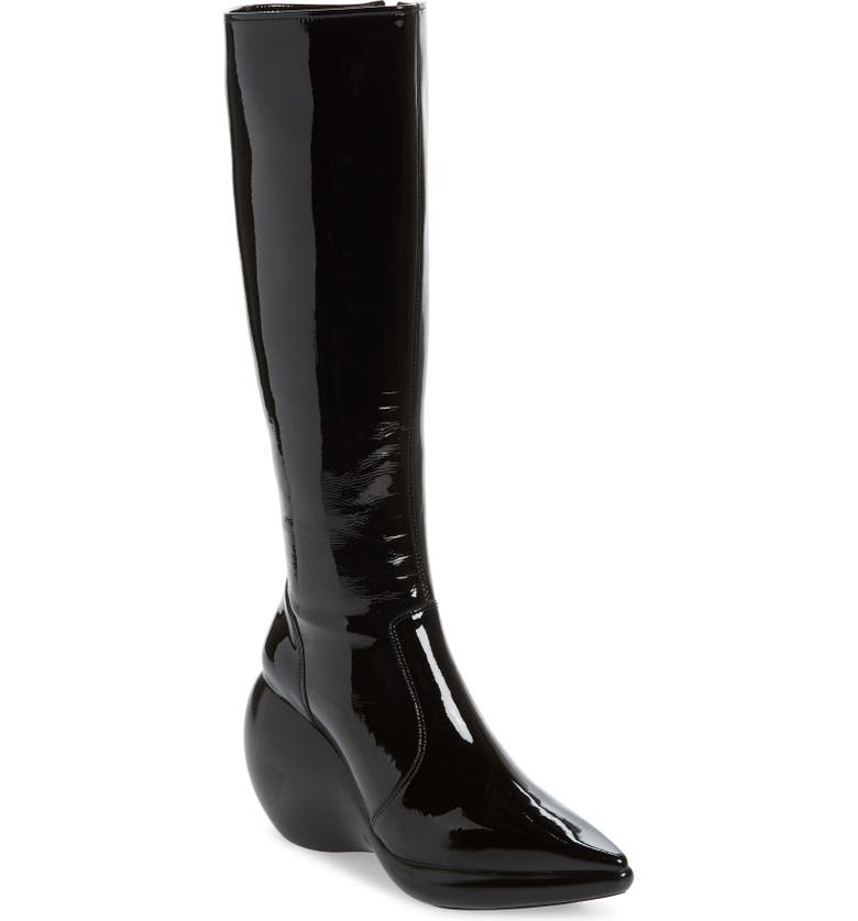 JEFFREY CAMPBELL Rhombus Knee High Boot, Main, color, BLACK PATENT LEATHER