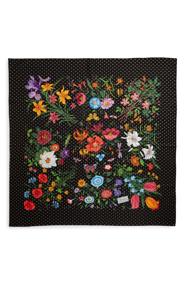 GUCCI Floral Stars Square Silk Scarf, Main, color, 001