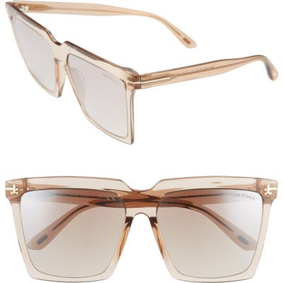 Tom Ford Sabrina 5m Square Sunglasses - Shiny Beige/ Brown
