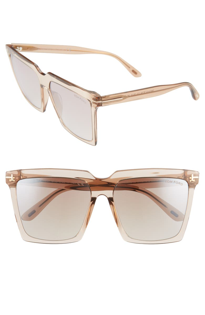 TOM FORD Sabrina 58mm Square Sunglasses, Main, color, SHINY BEIGE/ BROWN