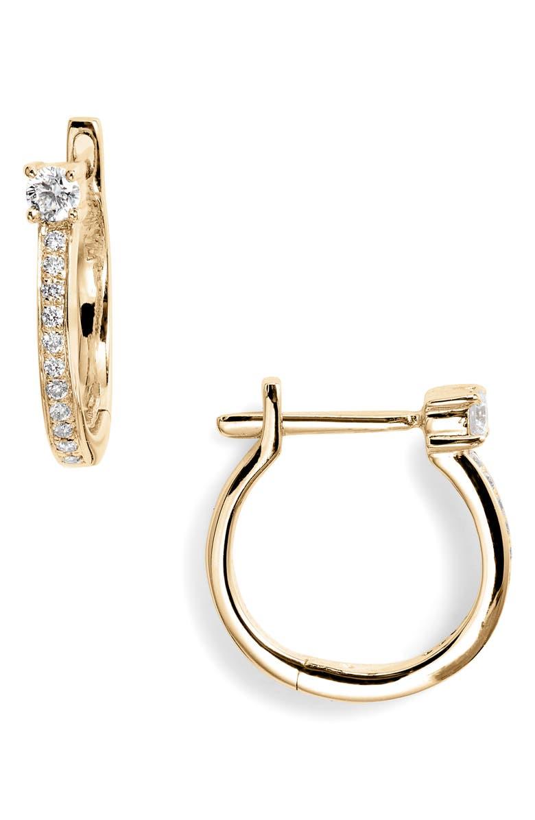 BONY LEVY Diamond Hoop Earrings, Main, color, YELLOW GOLD/ DIAMOND