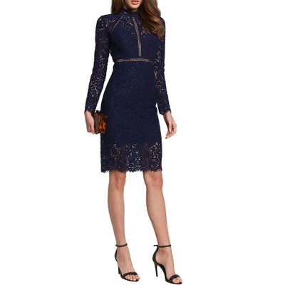 Bardot Rozie Long Sleeve Lace Dress, Blue