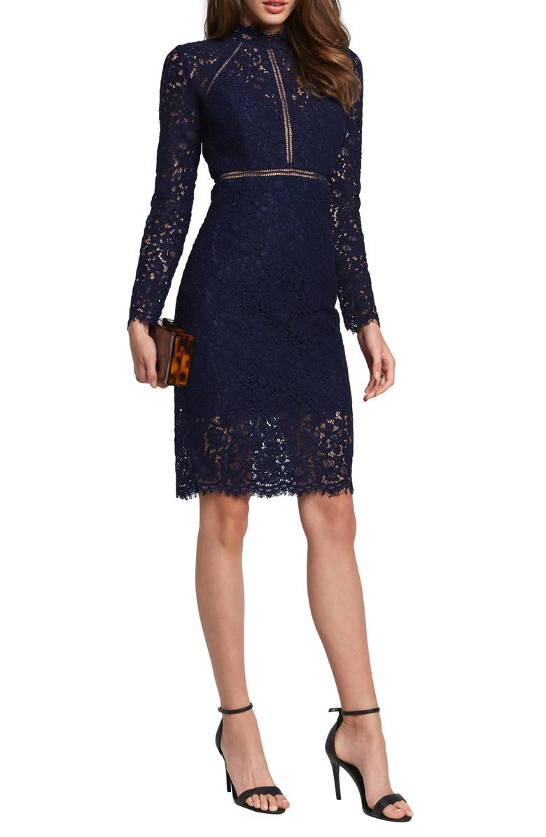 BARDOT Rozie Long Sleeve Lace Dress, Main, color, NAVY
