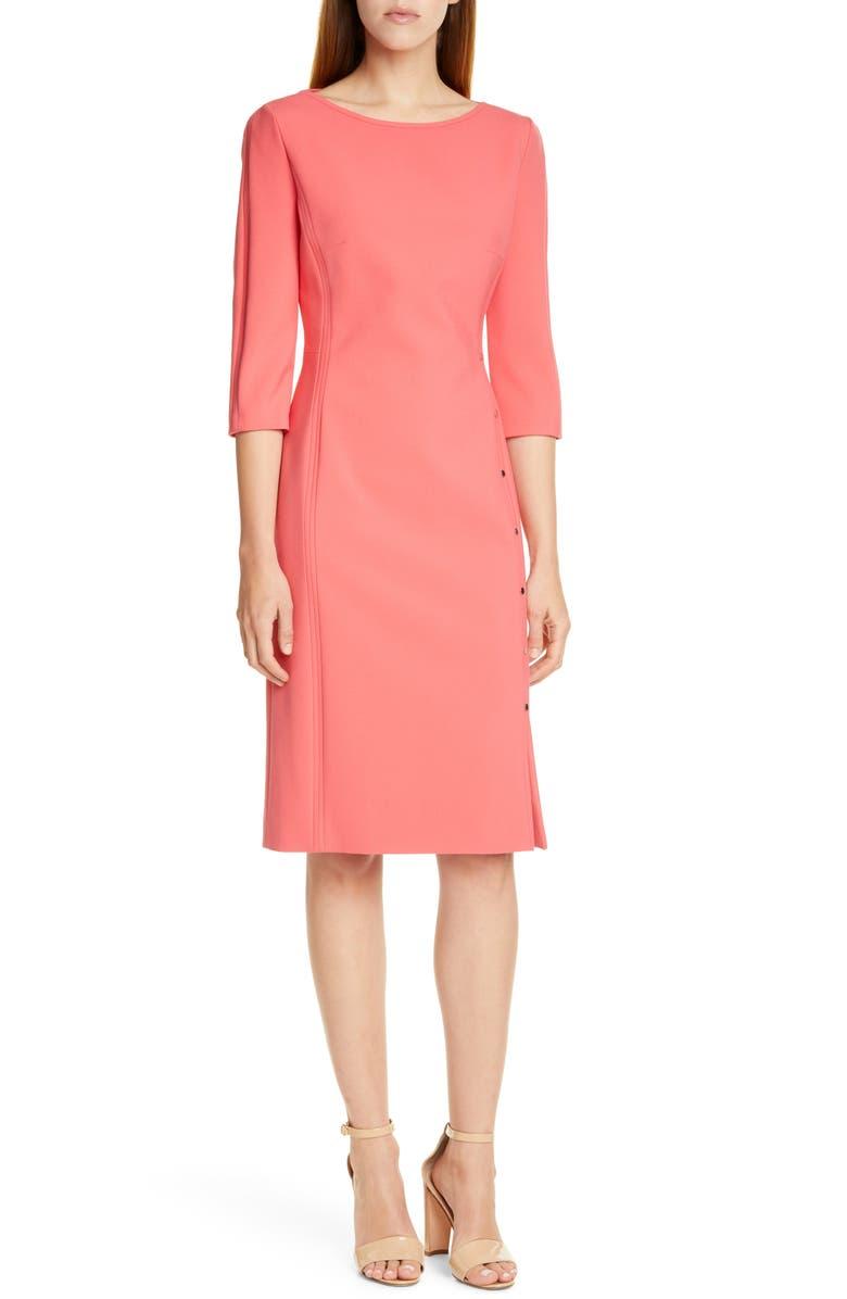 BOSS Dikena Ponte Sheath Dress, Main, color, CAMELIA