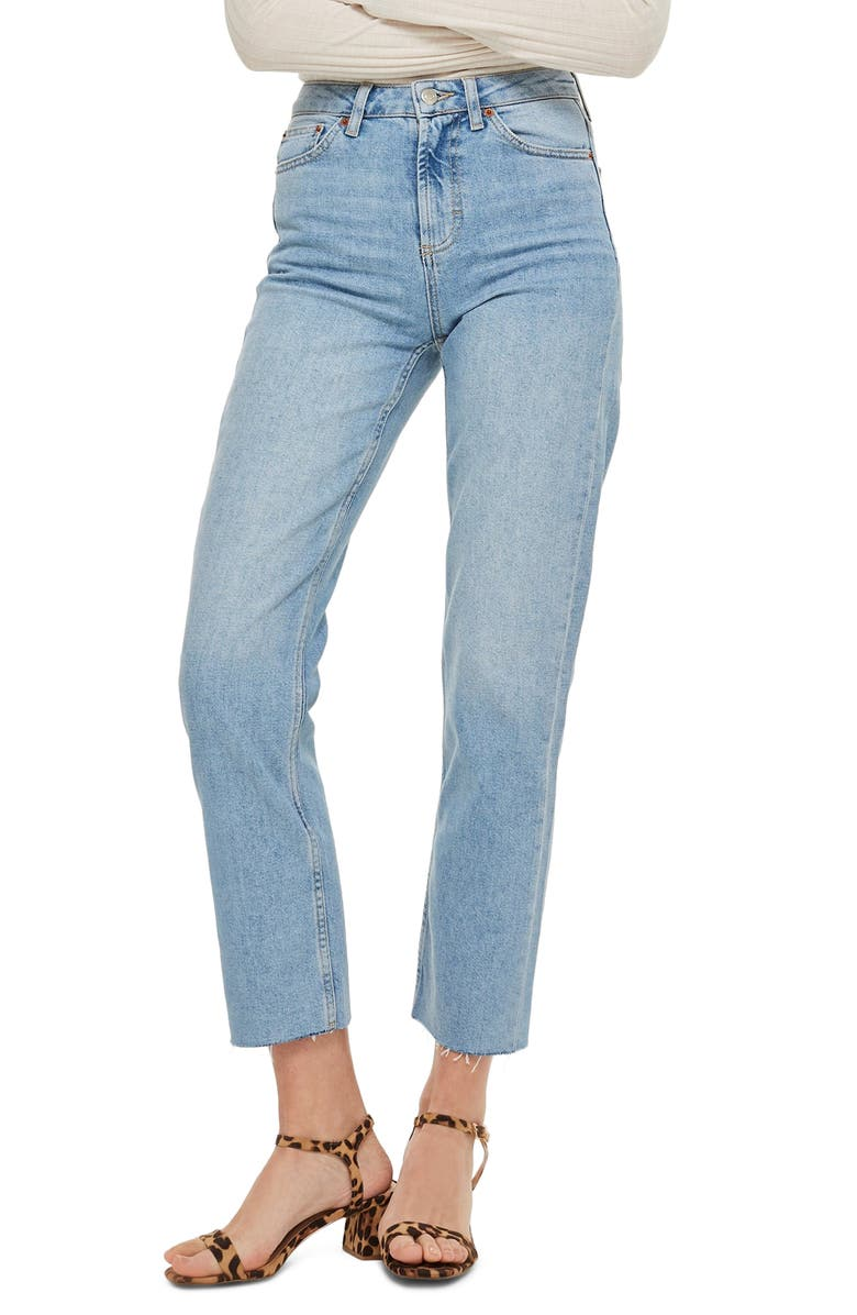 Moto High Waist Raw Hem Straight Leg Ankle Jeans by Topshop