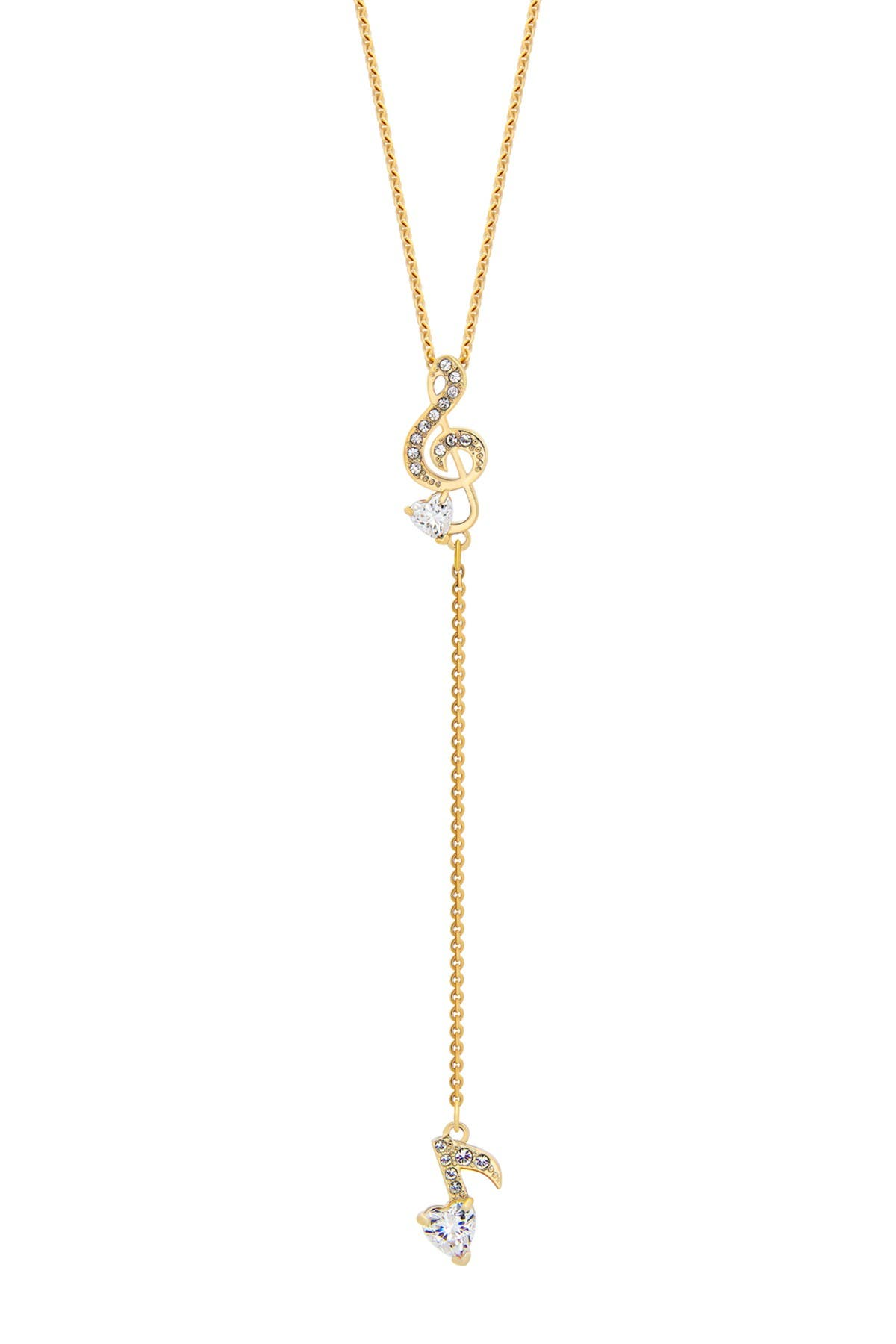 Image of Swarovski Pleasant 23K Yellow Gold Plated Clear Swarovski Crystal Y Pendant Necklace