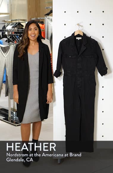 Garment Dyed Denim Slim Coverall Jumpsuit, sales video thumbnail