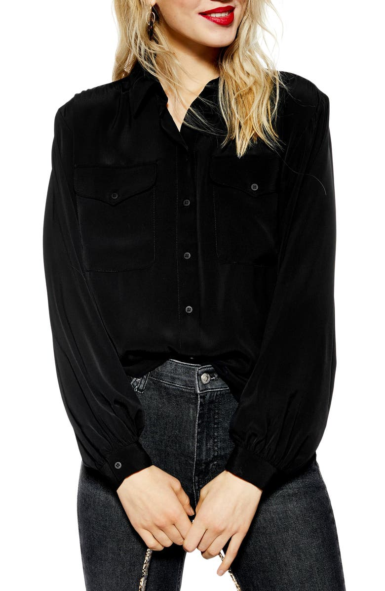 TOPSHOP Smart Pocket Shirt, Main, color, 001