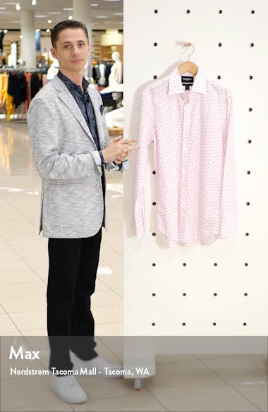Slim Fit Flamingo Print Stretch Dress Shirt, sales video thumbnail