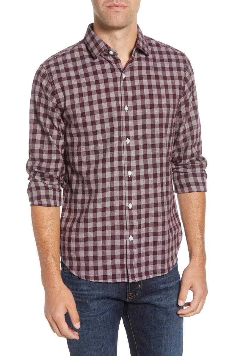 BONOBOS Slim Fit Check Button-Up Sport Shirt, Main, color, MARIAN CHECK - CHOC BURG