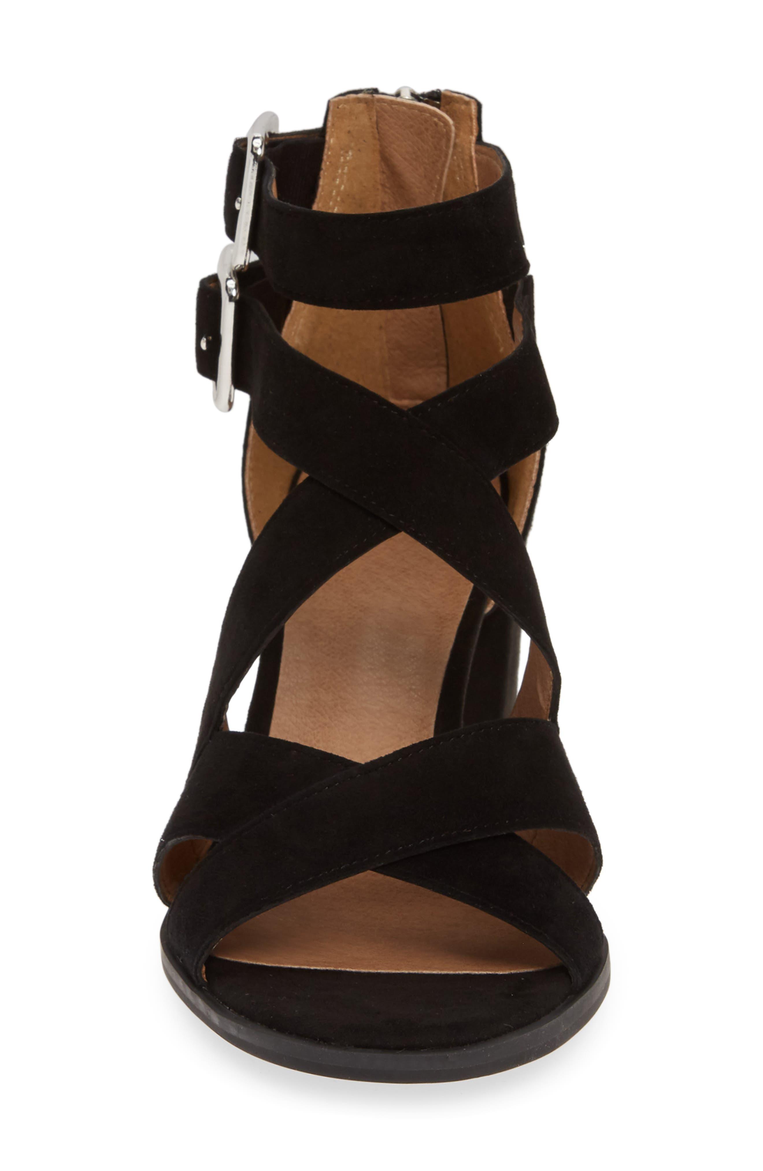 ,                             Izzy Block Heel Sandal,                             Alternate thumbnail 4, color,                             BLACK SUEDE