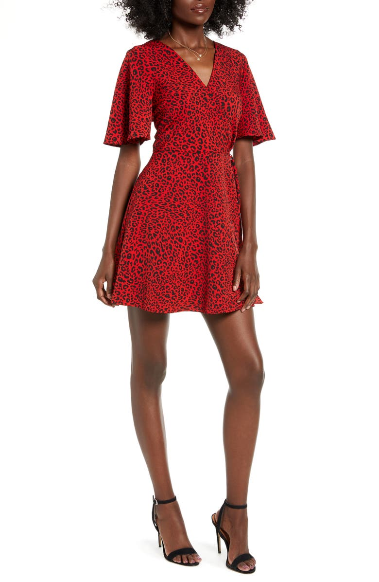 SPEECHLESS Faux Wrap Minidress, Main, color, RED BLACK
