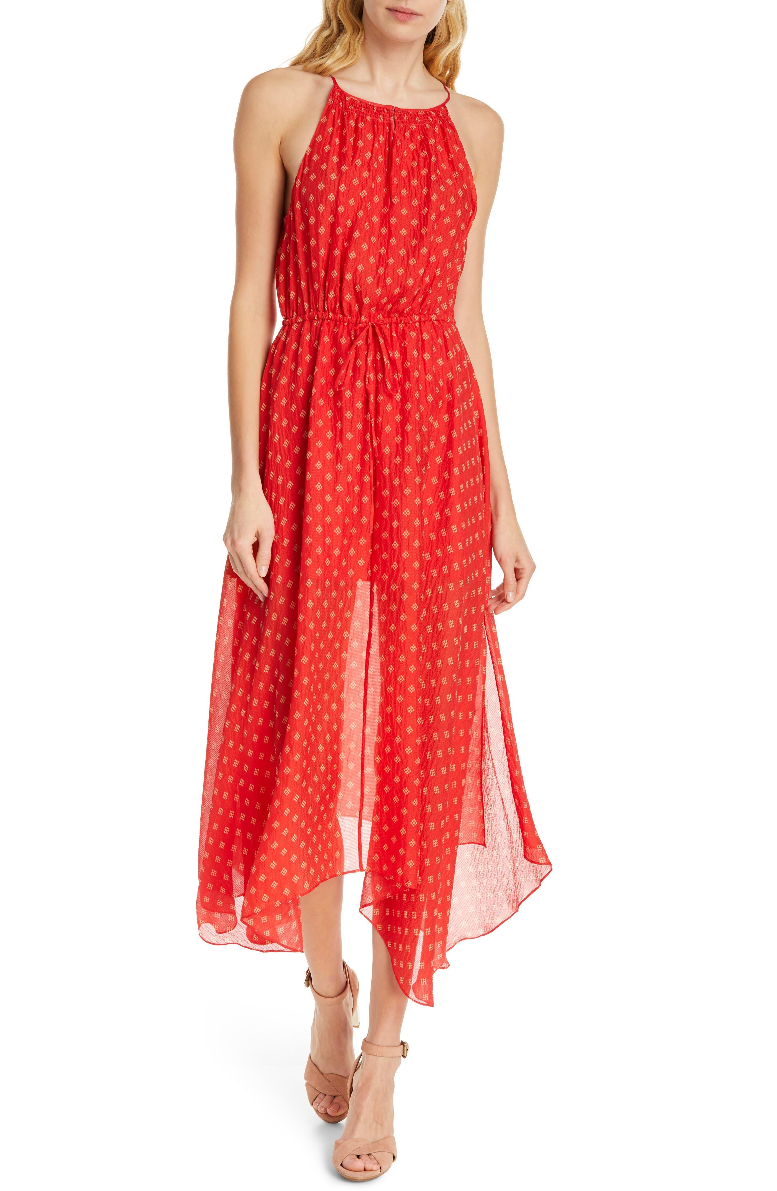 Joie Matalina Crinkled Silk Halter Dress, Red