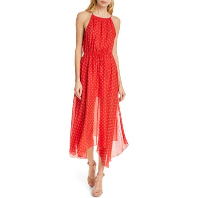 Joie Matalina Crinkled Silk Halter Dress, Red