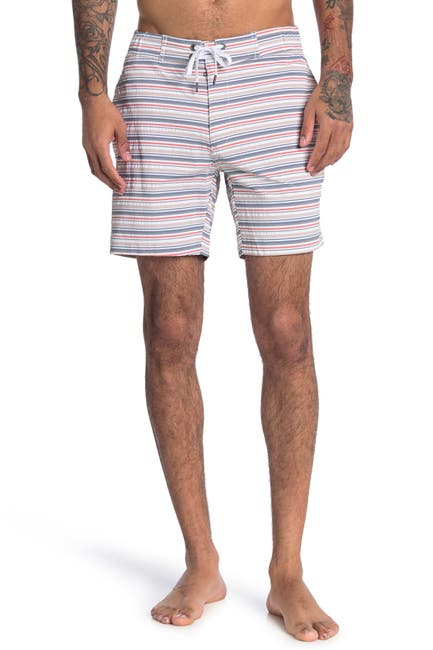 """Image of Onia Aleck Striped 7"""" Board Shorts"""