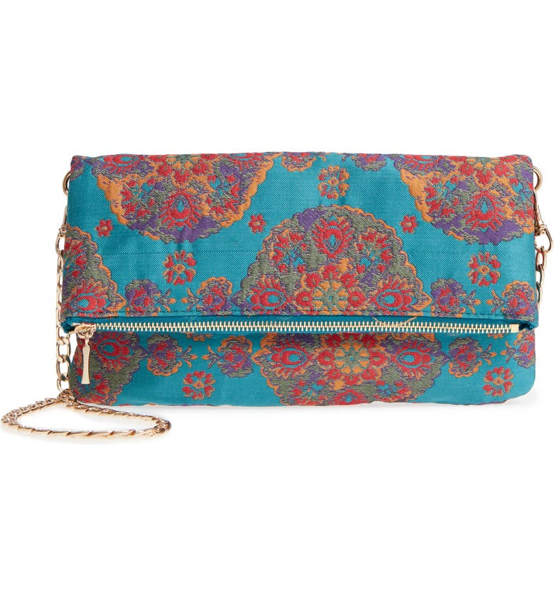 SOLE SOCIETY Floral Jacquard Foldover Clutch, Main, color, 412