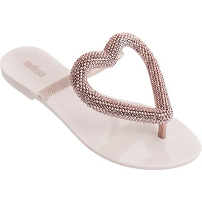 Melissa Big Heart Chrome Jelly Flip Flop, Beige