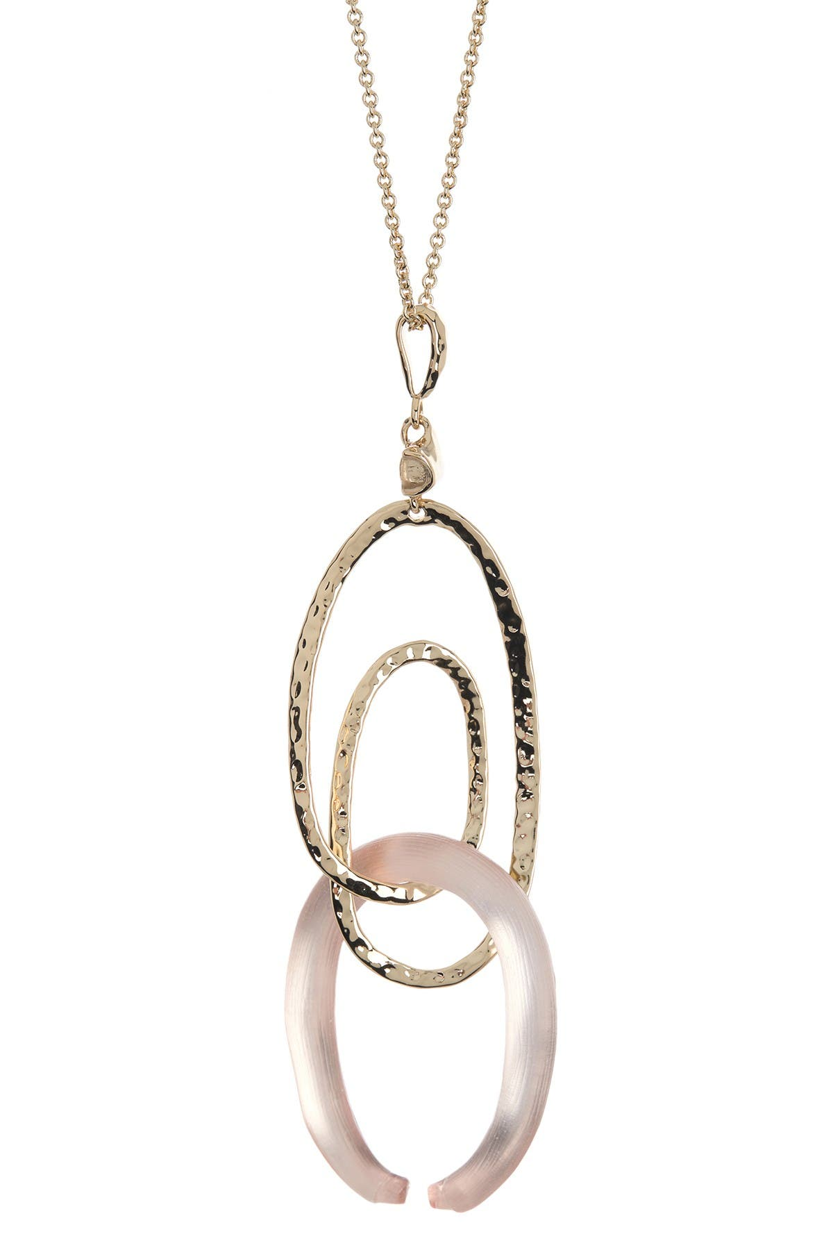 Image of Alexis Bittar 10K Gold Plated Hammered Spiral Lucite Pendant Necklace