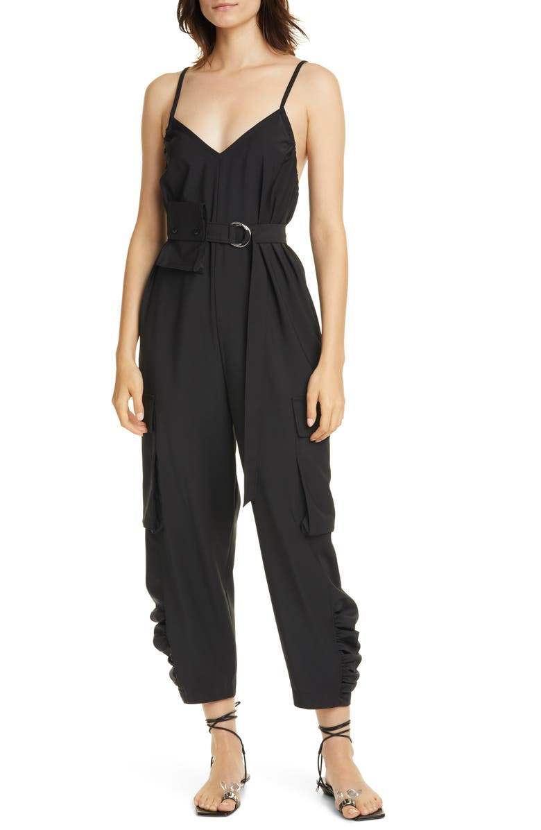 TIBI Belted Tropical Jumpsuit, Main, color, BLACK