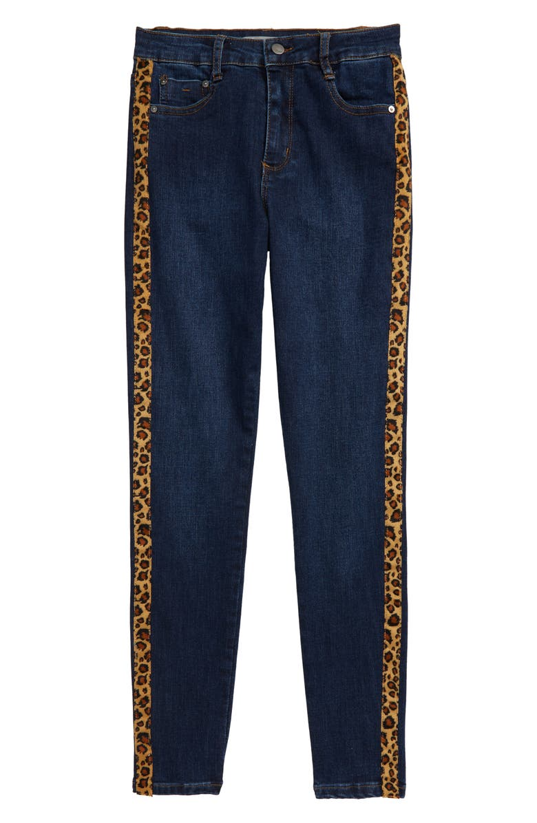TRACTR Leopard Stripe High Waist Skinny Jeans, Main, color, BLUE