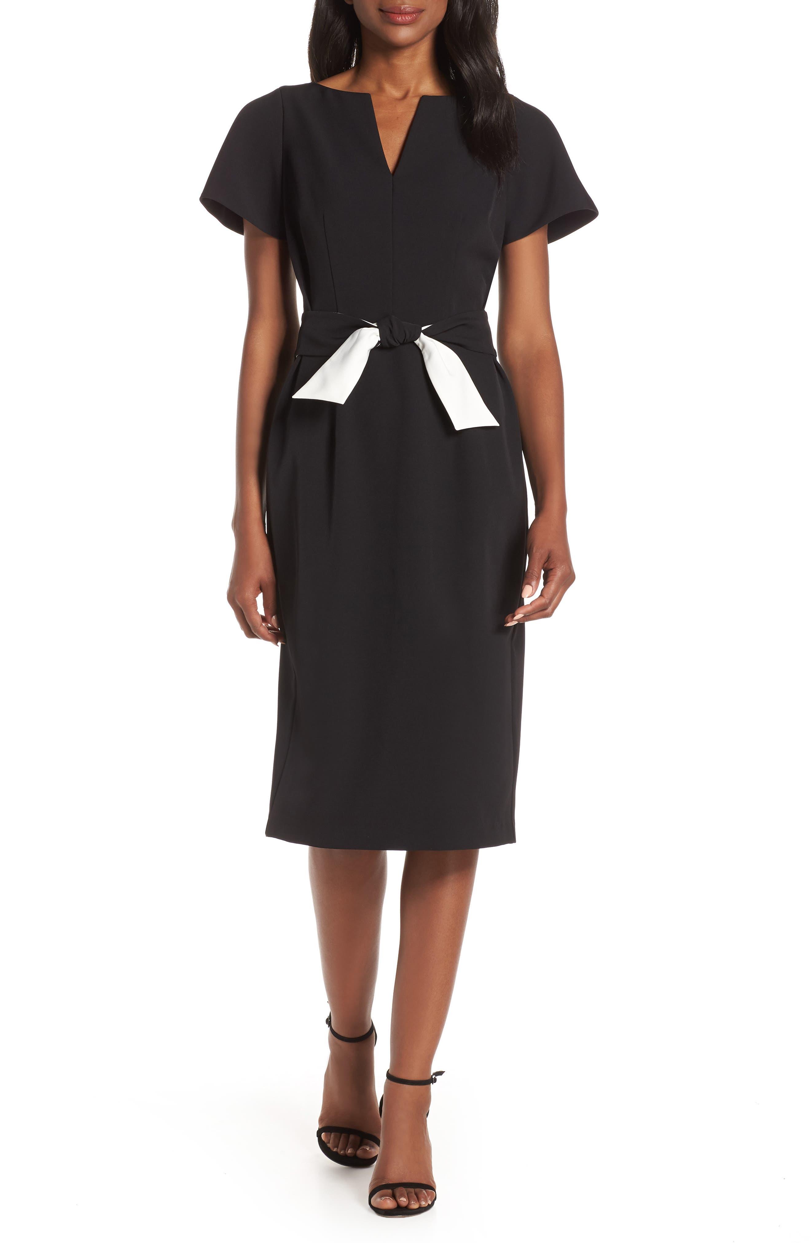 Petite Harper Rose Flutter Sleeve Sheath Dress, Black