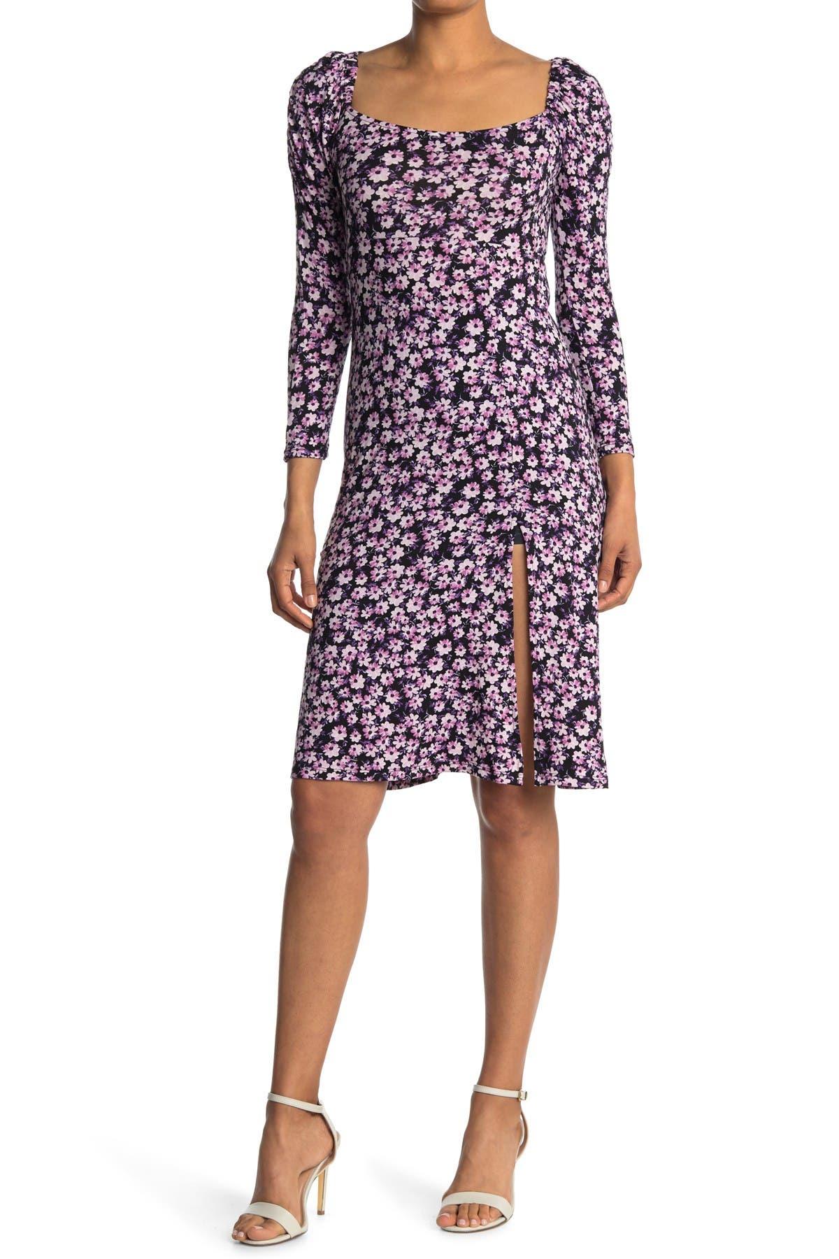 Image of Velvet Torch Puff Sleeve Bodycon Dress