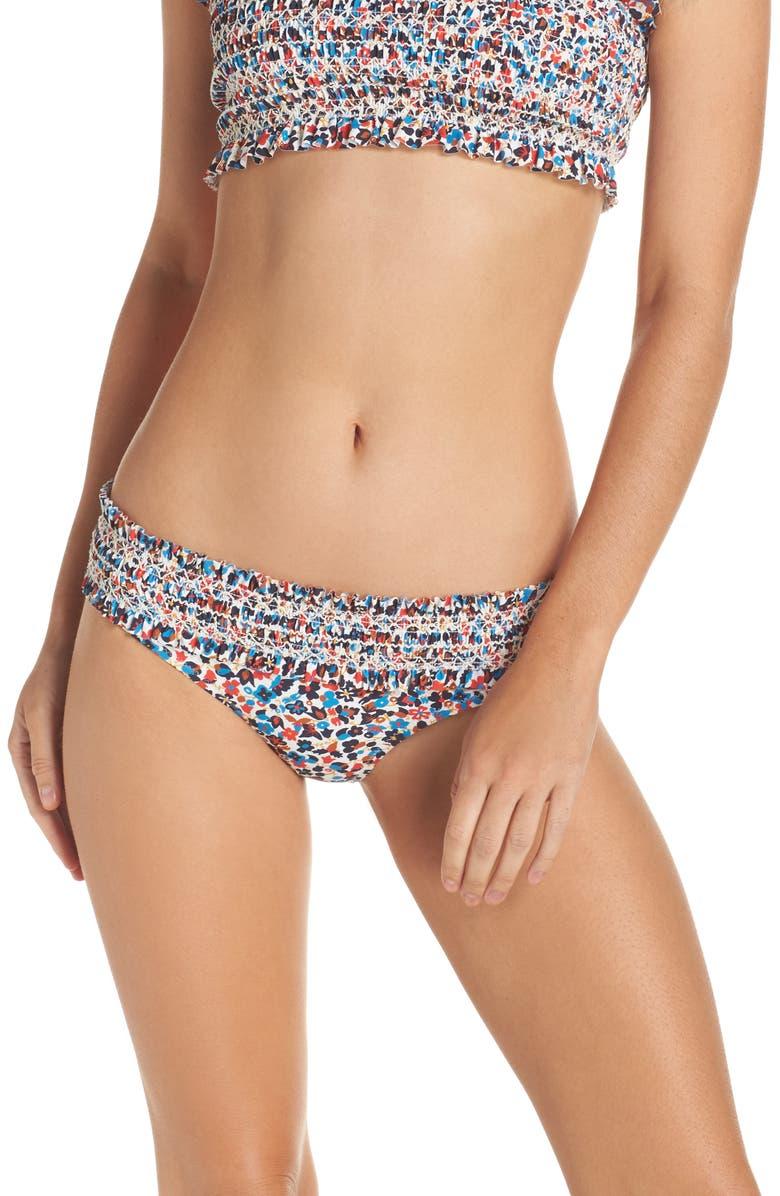 TORY BURCH Costa Smocked Bikini Bottoms, Main, color, 001